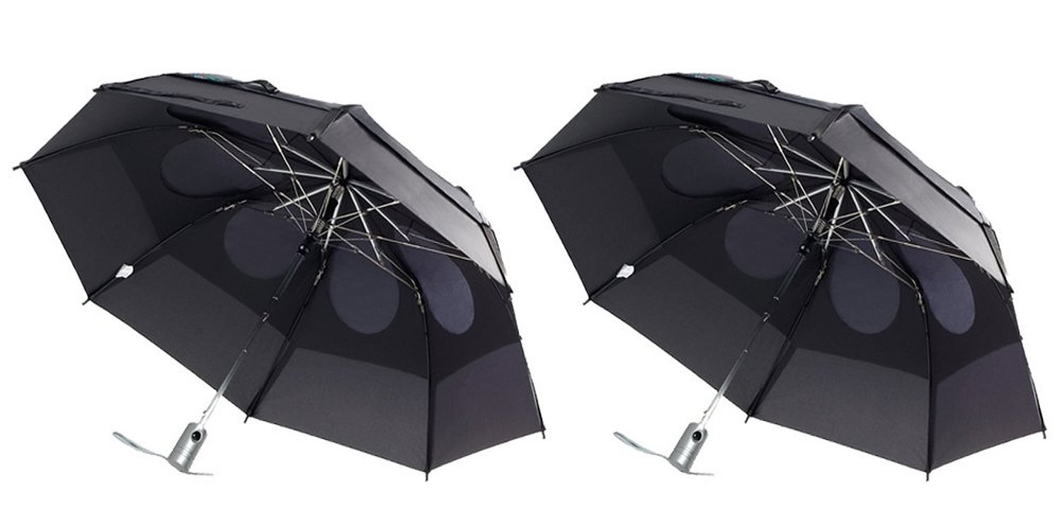 Gustbuster Metro Wind Resistant Umbrellas, 2 Pack (Black and Black)