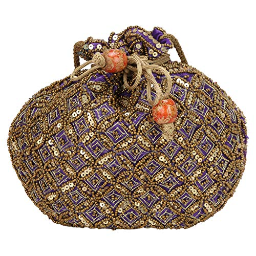 (Indian sequence Potli Bag/wedding purse/jewelery purse for girls & women (Purple))