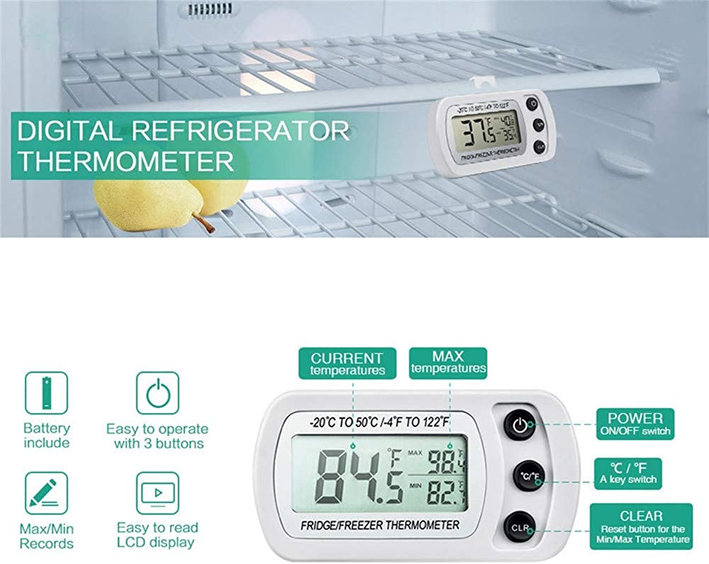 Byedog❤❤2 Pack Digital Refrigerator Freezer Thermometer,Max//Min Record Function with LCD