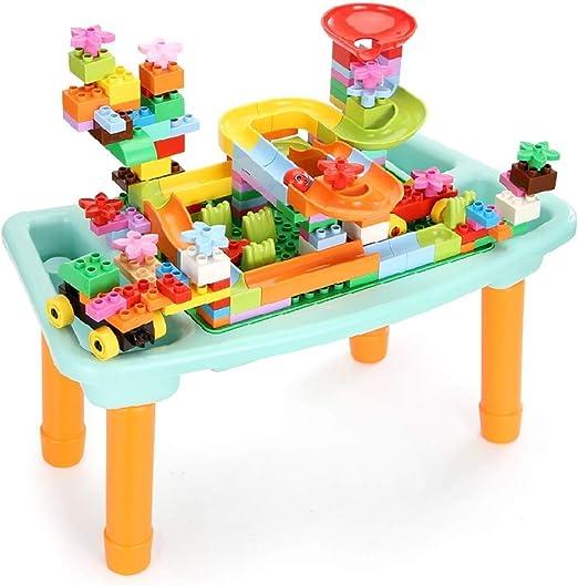 WJMLS Mesa de Actividades para niños 2 en 1 Tablas de Bloques de ...