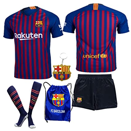 low priced bb94e 32dce BARCA2018 Barcelona NB Messi Suarez Coutinho No Name 2018 2019 18 19 Kid  Youth Replica Home Jersey Kit : Shirt, Short, Socks, Bag, PVC Key (Please  ...