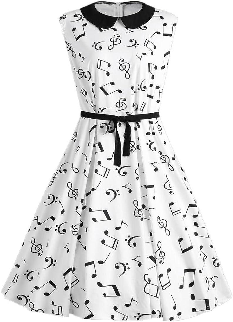 Vestido sin Mangas de Mujer Notas Musicales Impreso Cuello Retro ...