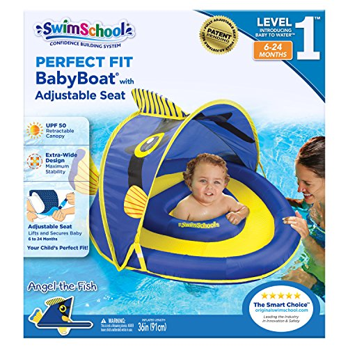 - SwimSchool Angel-The-Fish Fabric Baby Boat, Splash and Play, Adjustable Safety Seat, Extra-Wide Inflatable Pool Float