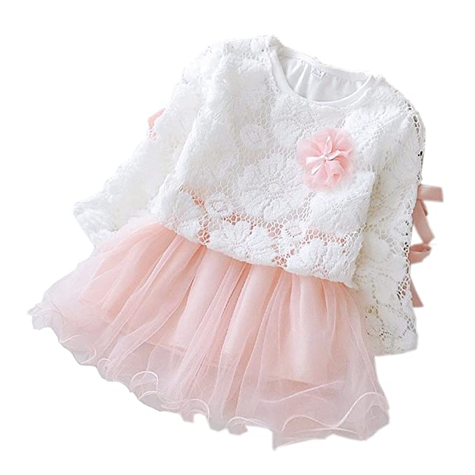 Mornyray Baby Girls Tulle Long Sleeve Princess Flower Dress Tutu Lace Skirt  with Bow Size 6 2f3ede31d