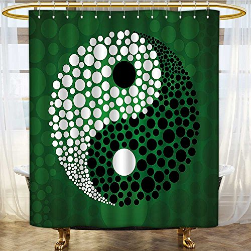 AmaPark Waterproof Mold and Mildew-Resistant Made Yin Yang Form Zen Themed Meditation Dots Design Print Green Black White Fabric Shower Curtain 36 x 72 inches by AmaPark
