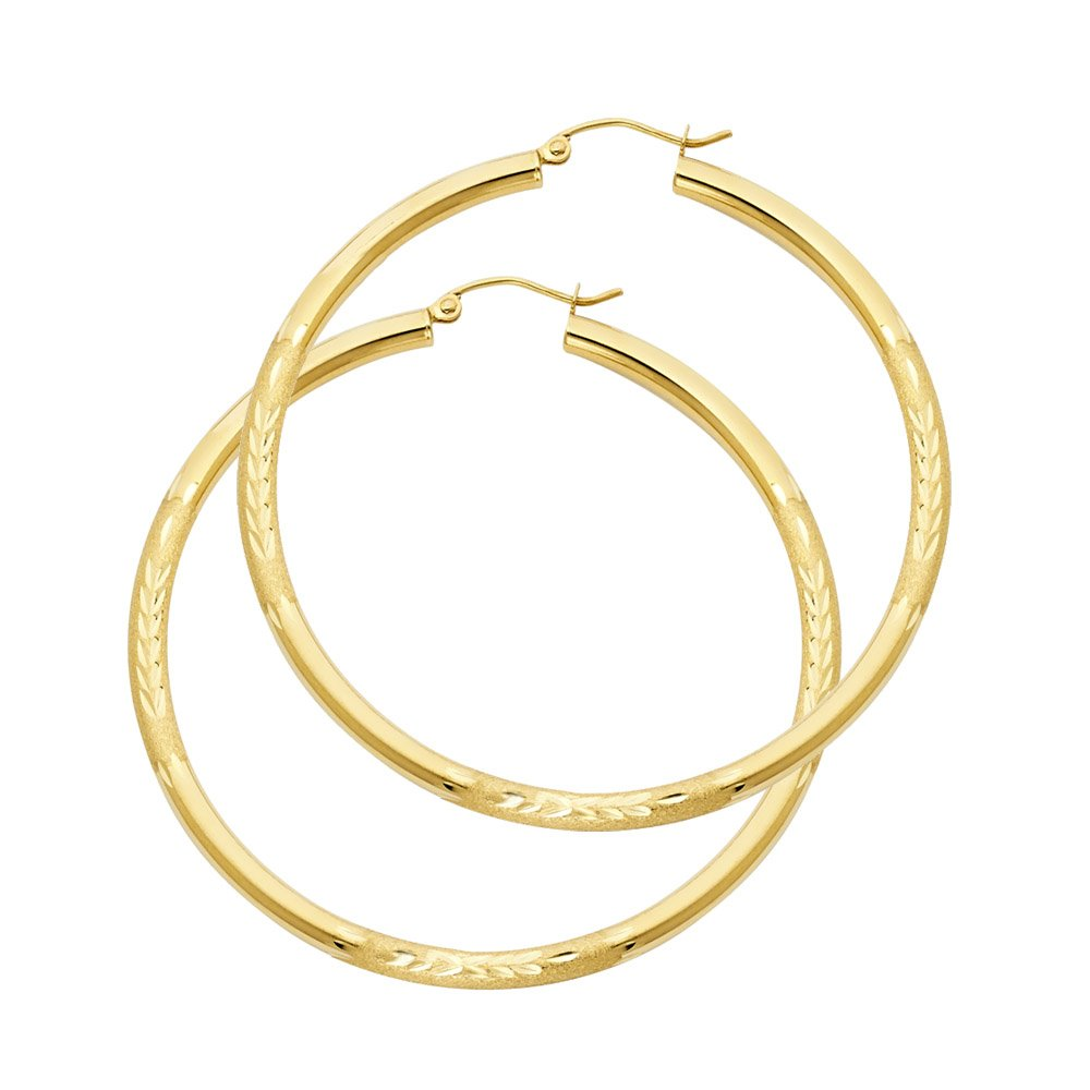 Wellingsale Ladies 14k Yellow Gold Polished 3mm Diamond Cut Classic Hoop Earrings (48mm Diameter)
