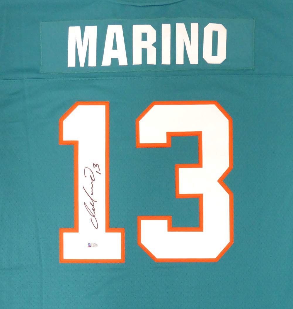 38a1b919 MIAMI DOLPHINS DAN MARINO AUTOGRAPHED MITCHELL & NESS TEAL JERSEY SIZE XL  BECKETT BAS STOCK #137991 at Amazon's Sports Collectibles Store