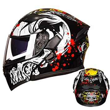 Flip Up Motorcycle Motorbike Helmet Integral Helmet with Double Visor And Fold-Out Sun Visor Motorbike Helmet for Men and Women
