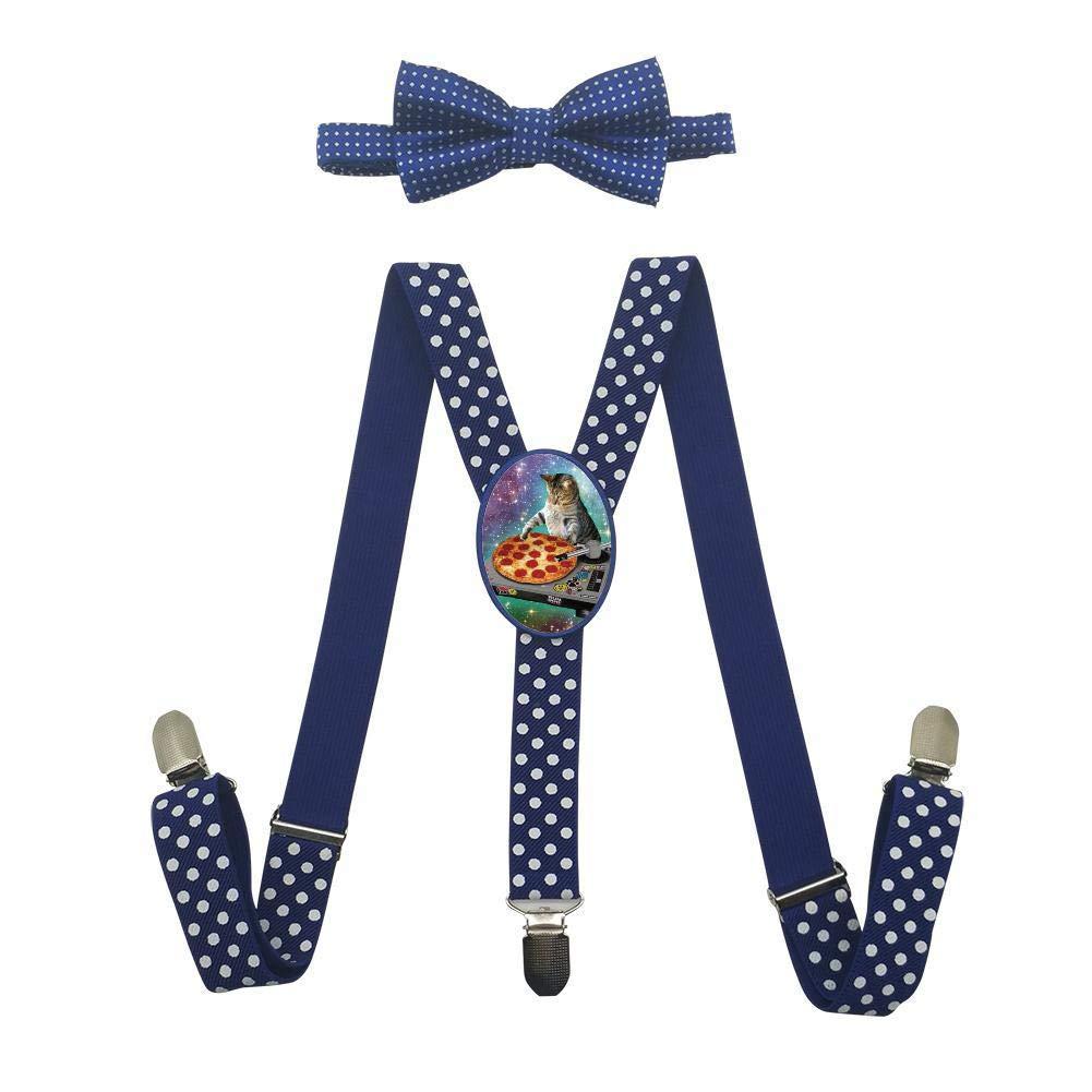 Qujki DJ PIZZA CAT Suspenders Bowtie Set-Adjustable Length