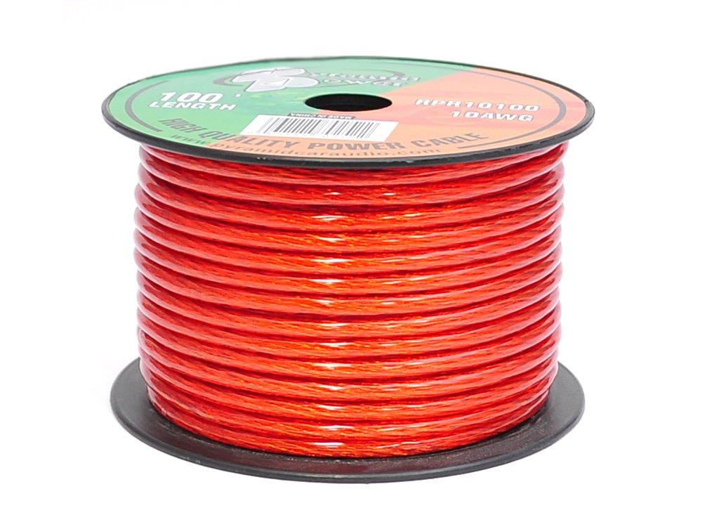 Pyramid RPR10100 10 Gauge 100 Feet Power Wire OFC (Clear Red) Sound Around