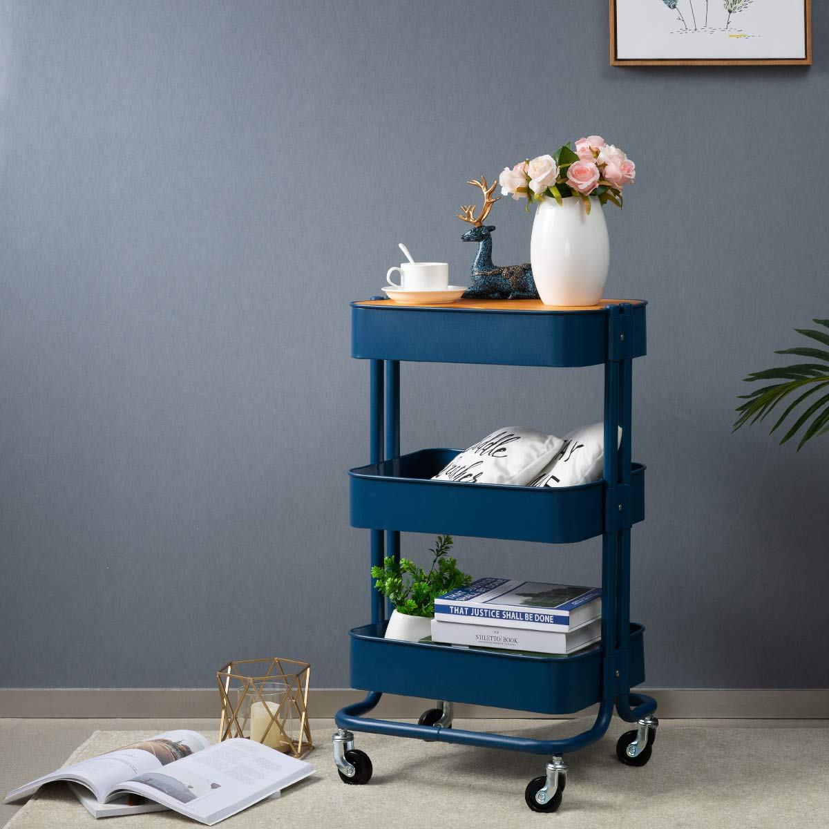 HollyHOME 3-Tier Metal Utility Service Cart Rolling Storage Shelves with Planks, Movable Storage Utility Cart, Navy Blue