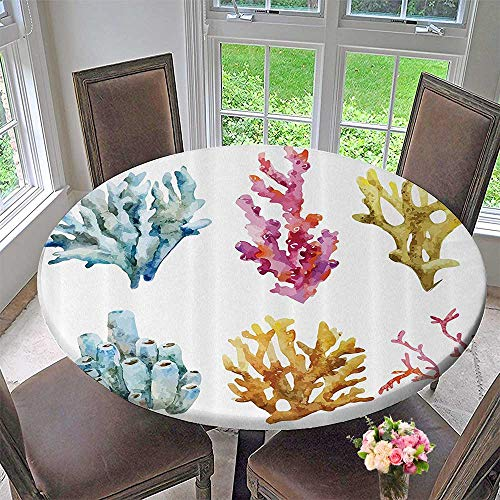Mikihome Round Polyester Tablecloth Table Cover Coly Group of Corals in Tropical Ocean Island Leisure Plant Animals 55