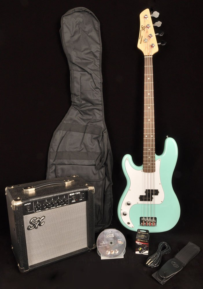 SX Ursa 1 JR RN PK PBU Powder Blue Left Handed 3/4 Size Bass Guitar Package w/Free Amp Bag, Strap and On Line Instructional Video by SX