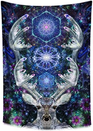 Crystal Deer Tapestry- Blue Tapestry- Mandala Wall Decor- Psychedelic Design- Gemstone Pattern- Premium Bedroom, Living Room Wall Art- Large Tapestry 72×48 Inches