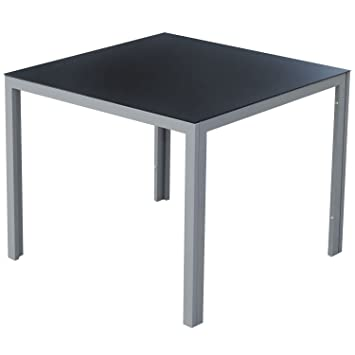 Homcom TABLE DE JARDIN CARREE EN ALU VERRE TREMPE SALON TERRASSE ...
