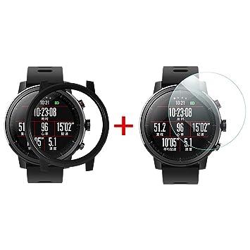 Qomomont Caja de la PC + Protector de Pantalla Caja de Reloj Adecuado para Xiaomi Huamei AMAZFIT 2 / 2S Stratos Watch (Negro)