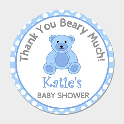 Amazon 40 Personalized Blue Teddy Bear Baby Shower Favor