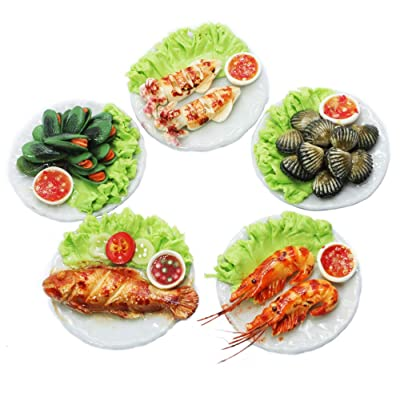 ThaiHonest Mixed 5 Assorted Seafood Dollhouse Miniature Food,Tiny Food: Toys & Games