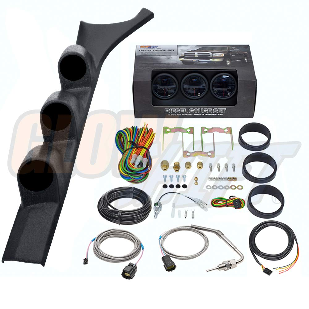 GlowShift Diesel Gauge Package for 1986-1993 Dodge Ram Cummins First 1st Gen - Tinted 7 Color 60 PSI Boost, 1500 F Pyrometer EGT & Transmission Temp Gauges - Black Triple Pillar Pod by GlowShift