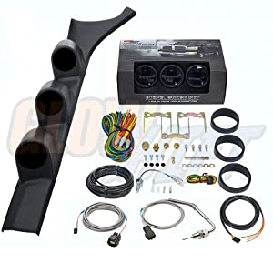 GlowShift Diesel Gauge Package for 1986-1993 Dodge Ram Cummins First 1st Gen - Tinted 7 Color 60 PSI Boost, 1500 F Pyrometer EGT & Transmission Temp Gauges - Black Triple Pillar Pod