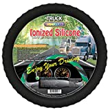 "New Silicone Semi-truck Steering Wheel Cover with Negative Ion Fits 16"" 17"" 18"" 19"" Steering cover Full Line series! Odorless Best Comfort Grip! (Black)"