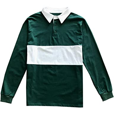 eea36d83506a Kings Of NY Classic Mens Long Sleeve Sports Polo Rugby Shirt Small Green