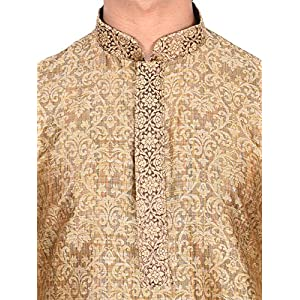 Manyavar Men's Full Sleeve Regular Fit Designer Kurta & Churidar Set