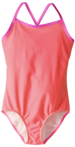 Kanu Surf Big Girls' Mermaid Solid One-Piece Swimsuit, Coral, 12