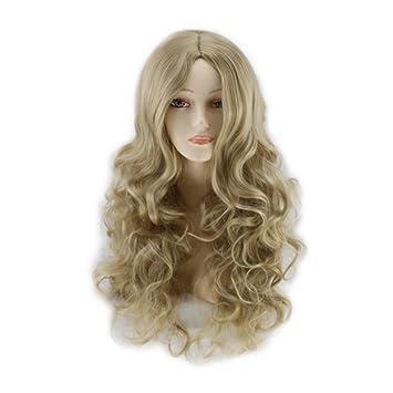 Deesos Women s Long Curly Fancy Dress Wigs Blonde Cosplay Costume Ladies  Long Wig a1d7cb7bcc