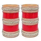Lucky Jewellery Red White Kundan & Golden Stone Bridal Choora Set For Women