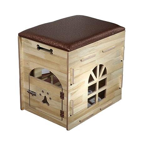 HYXI-Camas Casa de Mascotas de Madera de la casa para Mascotas pequeña del Perro