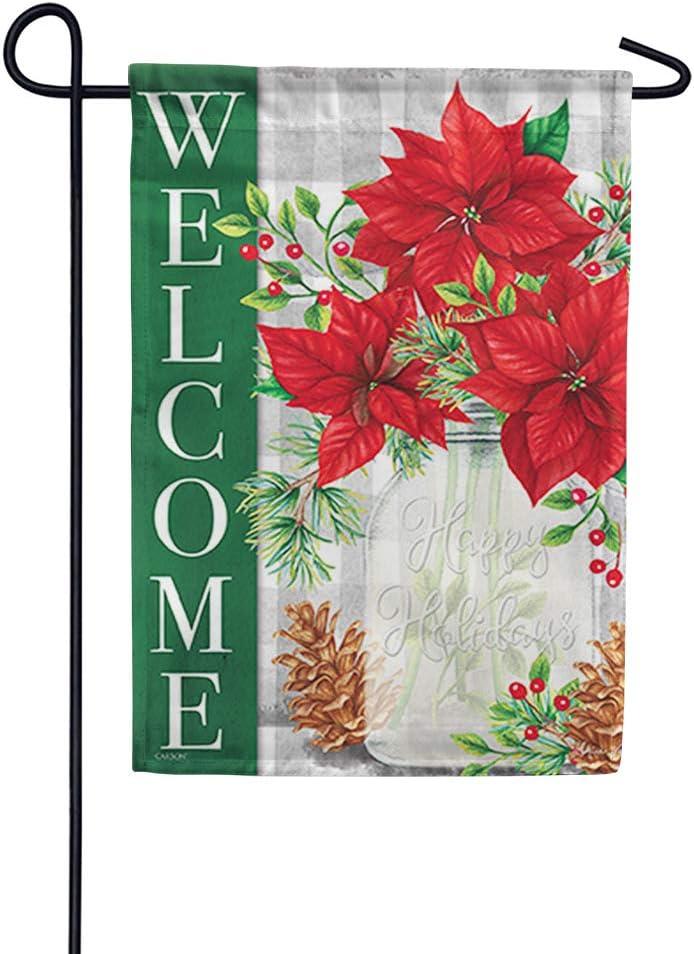 Carson Flag Trends Outdoor Decorative Holiday Christmas Garden Flag - Pinecones & Poinsettias Garden Flag - 12.5