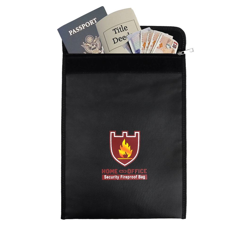 Rou-shot Fireproof Document Bag,Double Layer Fireproof and Waterproof Safe Bags, Perfect for Money, Documents, Jewelry and Passport Safes (15'' x 11'') by Rou-shot (Image #2)