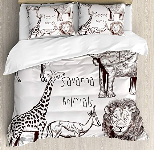 Savannah Four Light Bath - Safari Duvet Cover Set Full Collection of Tropic African Asian Wild Savannah Animals Lion Giraffe Zebra Graphic Bedding Set 4 Piece Lightweight Bed Comforter Covers Includes 2 Pillow Shams Cream Brown