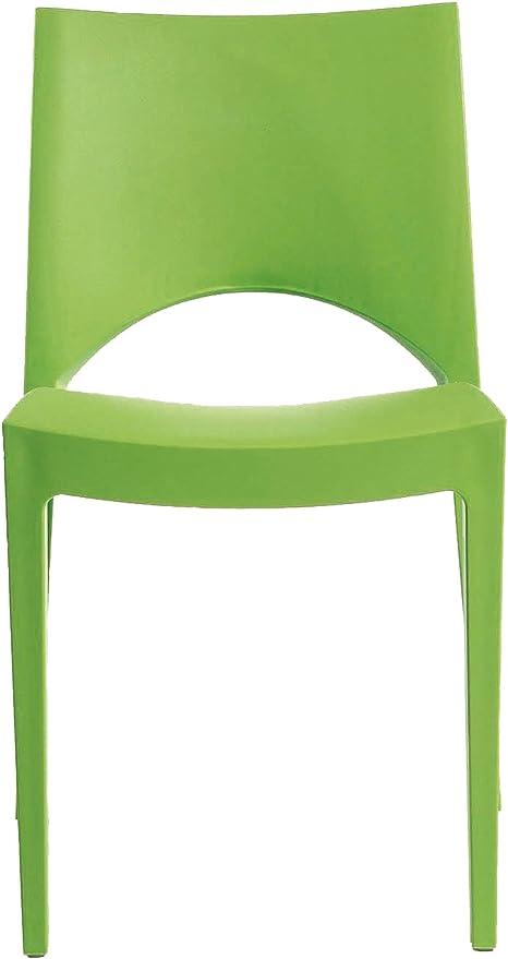 GRAND SOLEIL Grandsoleil, Upon Paris Sedia impilabile, 51 49 cm x 80 cm, Colore: Verde Mela, Polipropilene, Apple Green, 51 x 49 x 80 cm