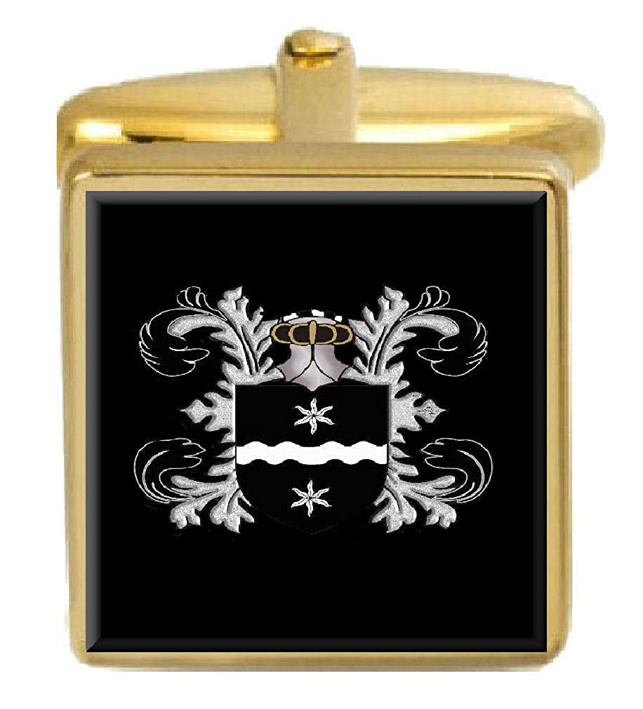 Select Gifts Drake England Family Crest Surname Coat Of Arms Gold Cufflinks Engraved Box