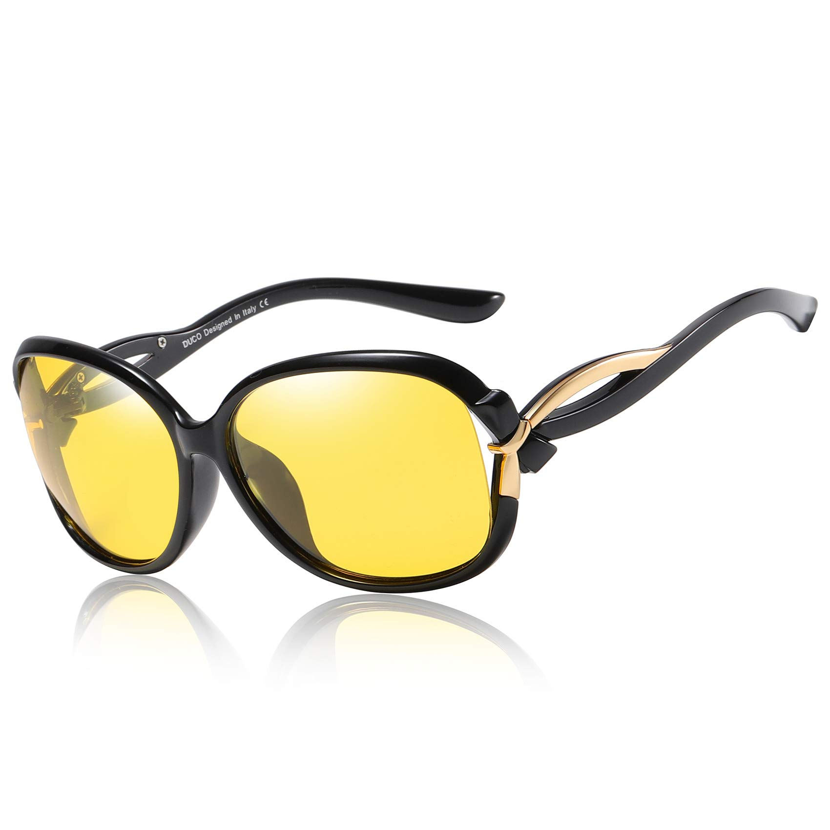 Duco Night Driving Glasses Anti-glare Eyewear Polarized HD Night Driving Vision Glasses For Women 2229 (Black) by DUCO