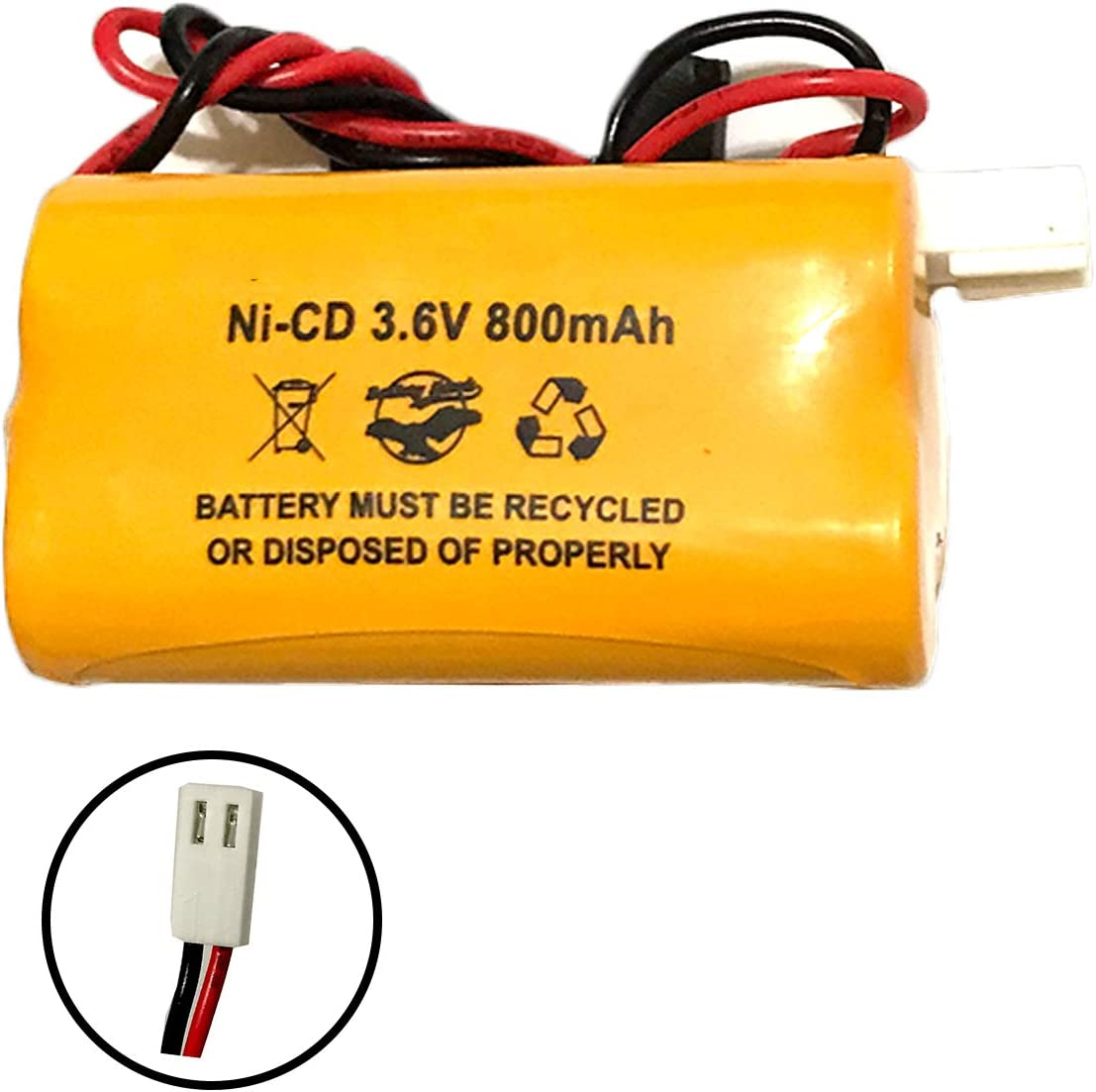 100003A098 Chloride 930023 930D23 Self Power Ni-CD 3.6v AA 800mAh Battery Pack Replacement for Emergency//Exit Light