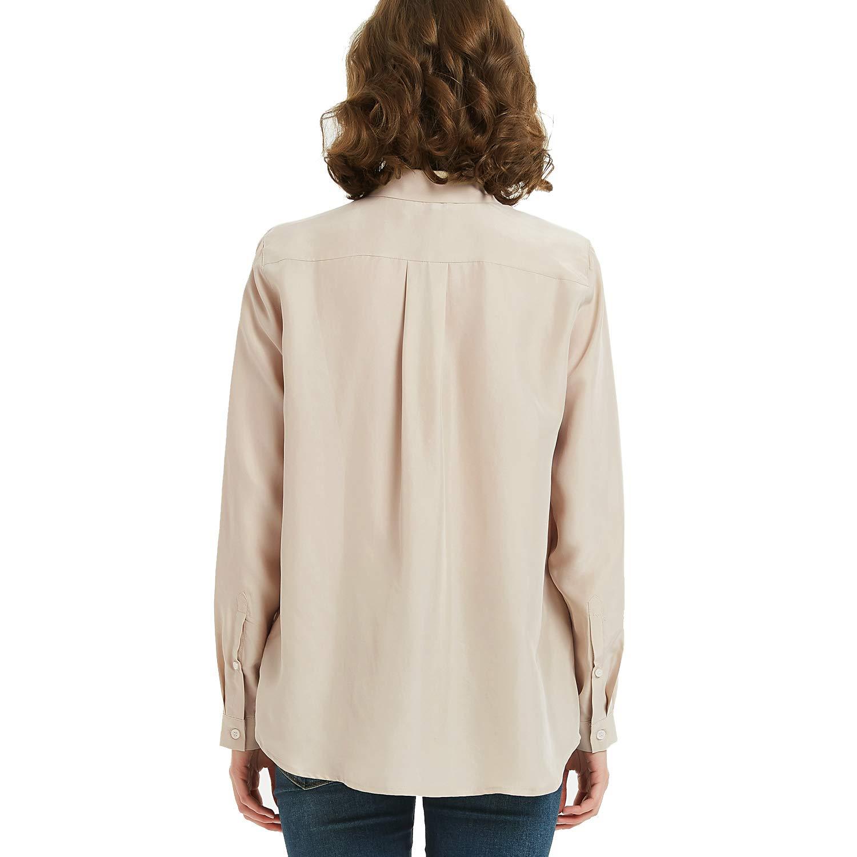 NEW DANCE Dam 100 % silke knapp v-hals ner långärmad blus dam kontor arbete tröjor toppar Feather Grey