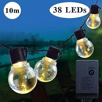 Guirnalda Luces Exterior, HUAFA 10m(32ft) Cadena de Luz, guirnaldas luminosas de exterior con 38 bombillas 8 modos perfecto para Jardín Patio Trasero Fiesta Navidad [Clase de eficiencia energética A+]: Amazon.es: Iluminación