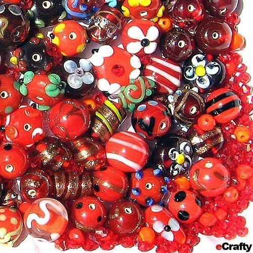 eCrafty EC-2054 Jewelry Maker's Lampwork Glass and Crystal Beads Mix, Red Floral (Hand Blown Glass Round Beads)