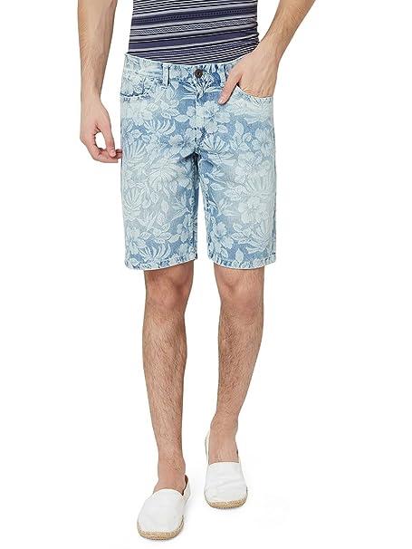 54c2c2c59cd5f Hammock Men's Tropical Floral Printed Denim Shorts - Light Faded ...