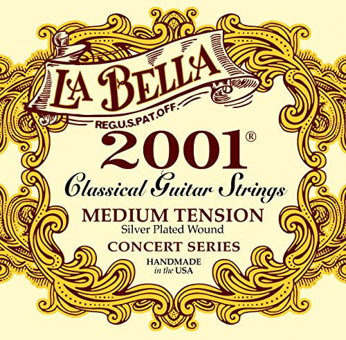 (LaBella 2001M Classical Guitar Strings, Silver Plated, Medium Tension)