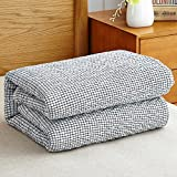 HOLY HOME 100% Water Washed Cotton Gauze Quilted Blanket Micro-Trellis Design Multipurpose Bedclothes Blanket Sheet Bed Cover Bedspread 60''x80'' Gray