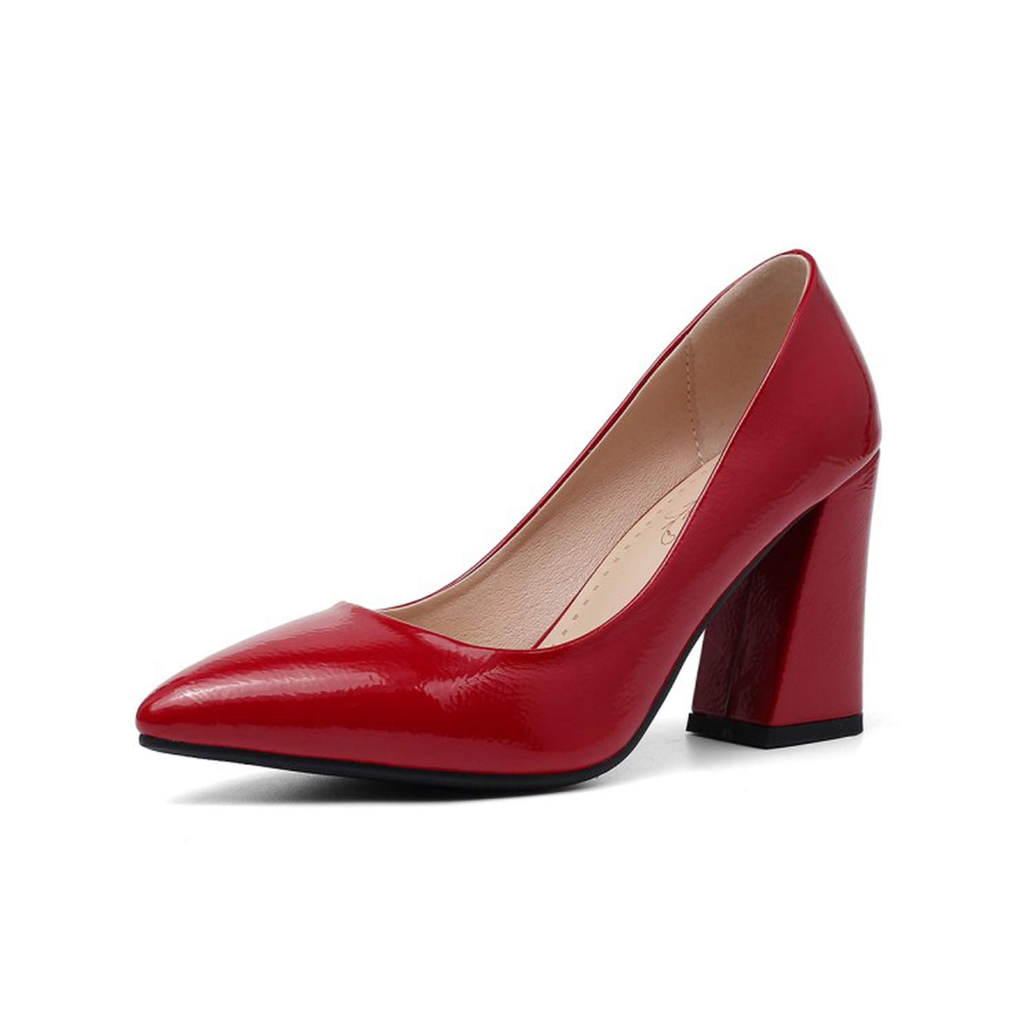 Red Sunny Doll Big Size 34-43 2019 Women Solid PU Pointed Toe high Heels Pumps 3 colors