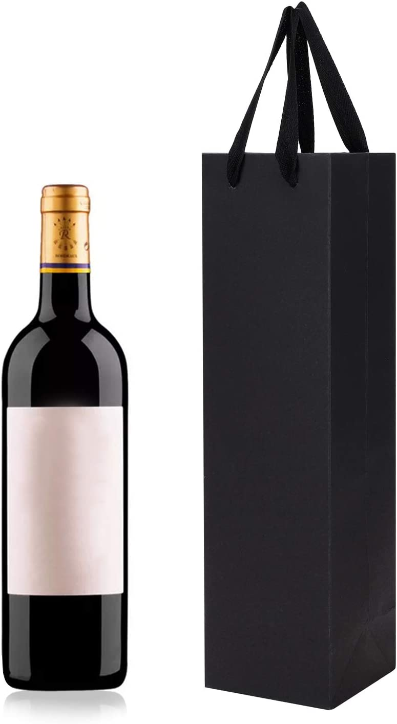 10 bolsas de regalo para botella de vino con asa para cumpleaños, bodas, aniversarios, celebraciones, fiestas 9.5x9x35cm/3.7x3.5x13.8in Black-single