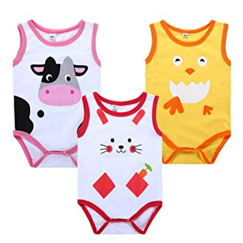 New Baby 3 Pack Sleeveless Bodysuits Clothing, Shoes & Accessories