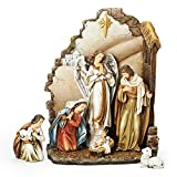 7-Piece Joseph's Studio Nativity with Back Wall Christmas Table Top Decoration 12''