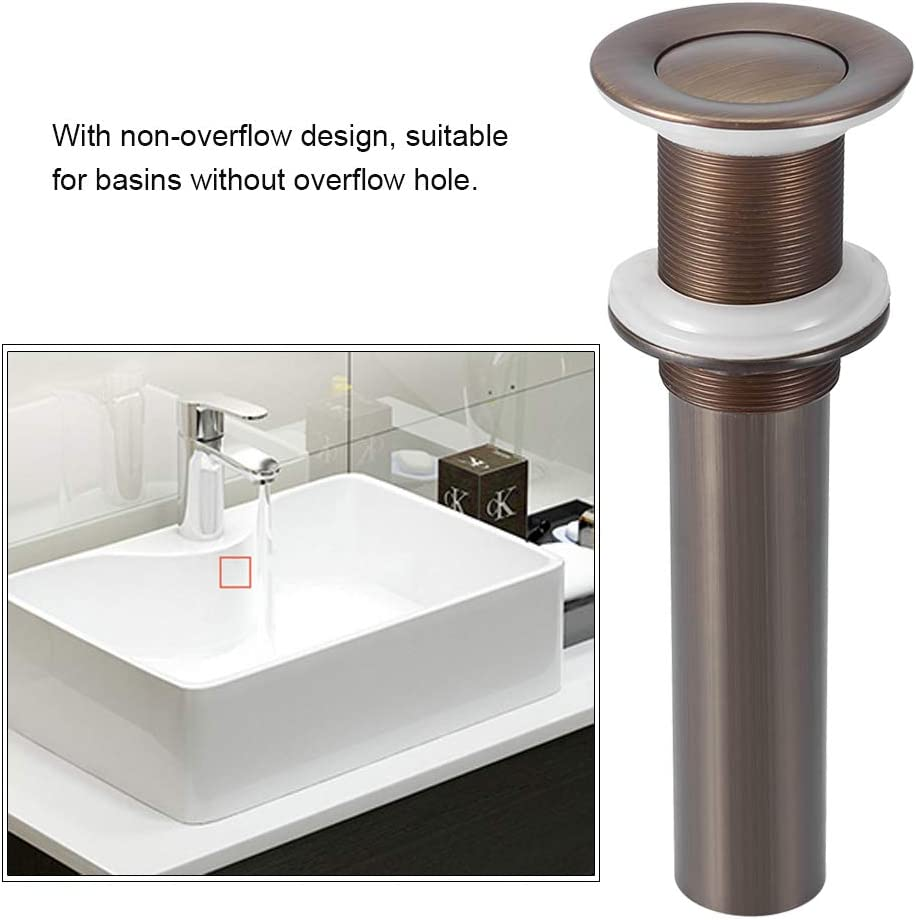 G1-1//4 Tapones de Desag/üe V/álvula Para L/ávabo sin Rebosadero Desag/üe de empuje abierto V/álvula de lavabo,V/álvula Pop-Up Silver Chrome