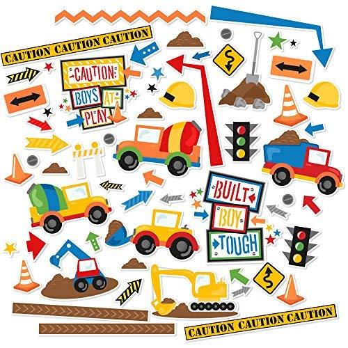 Scrapbooking Die Cut Stickers - Paper Die Cuts - Built Boy Tough - Over 60 Cardstock Scrapbook Die Cuts - by Miss Kate Cuttables